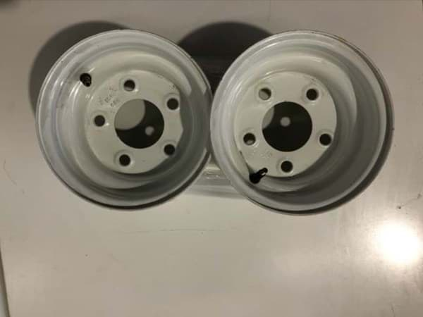 Picture of Used | 8x7 Steel Wheel, White, Centered. (5-Hole) | 2 pieces